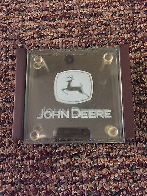 John Deere Coaster Set With Holder- glass set of four