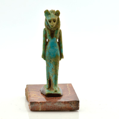 A fine Egyptian Faience Amulet of Sekhmet, Late Period, ca.700-30 B.C.