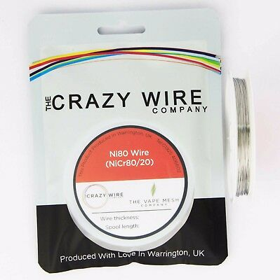 NI80 Nichrome 26 Gauge AWG (0.4mm) Resistance Wire- 50' Roll - 8.71 ohms/m