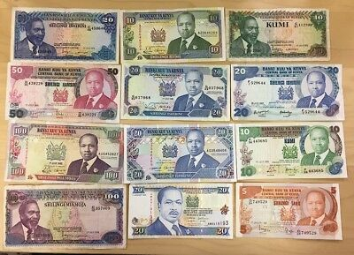Kenya Banknote Lot Of 12 Different Notes, Avg F-Vf