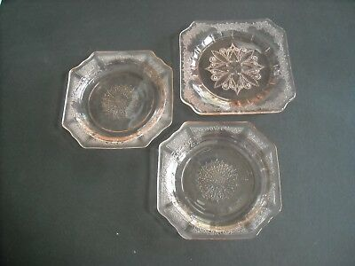 """3 PINK Depression Glass Plates ~ 2 Patterns ~ 5 3/4"""" Square ~ Perfect Condition"""