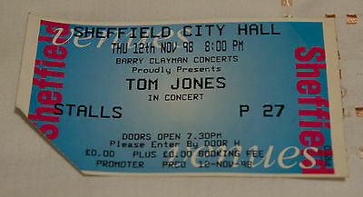 Tom Jones Ticket Stub Sheffield City Hall 1998