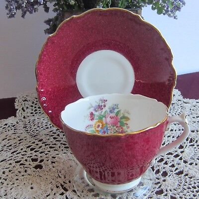 Coalport 9513 Burgundy with Flowers inside Bone China Tea Cup and Saucer