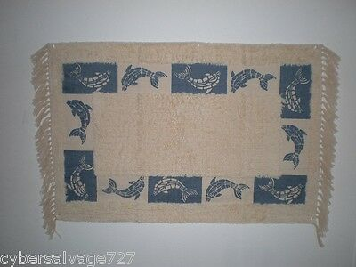 """Dolphin Scatter Rug Handwoven Printed Blue 24"""" x 40"""" - Nautical Bath or Kitchen"""
