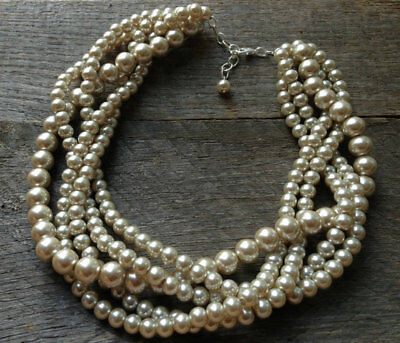Champagne Chunky Pearl Necklace Multi Strand Wedding Pearl Statement Necklace