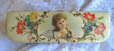 """Victorian Celluloid Glove Box Beautiful Young Girl Among Flowers~ 12"""" L"""