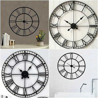 40-80Cm Large Traditional Vintage Style Iron Wall Clock Roman Numeral Home Decor