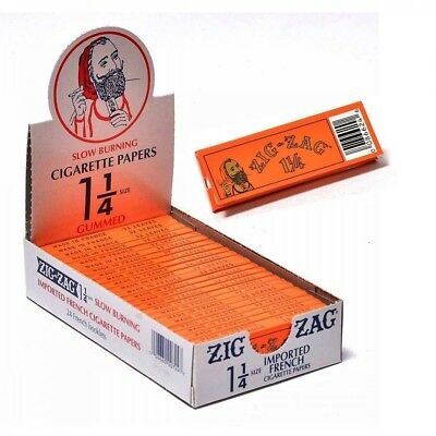 "Zig Zag 1 1/4"" 24ct Rolling Papers Orange Box - 32 leaves per pack - 24 packs"