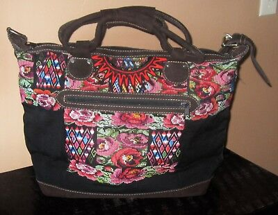 """new"" Large Guatemalan Huipil Textile/leather Overnight Bag/purse/tote ~"