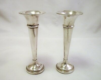 Pair Of Sterling Silver Vases - Birmingham 1976 - 4 1/2 Inches