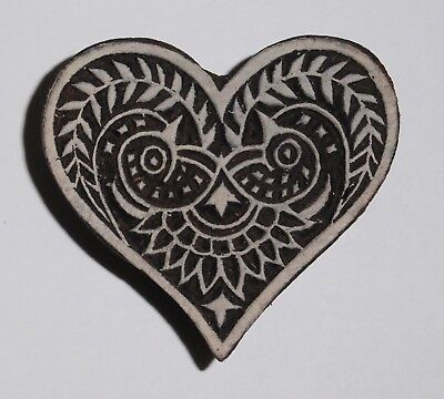 Heart Shaped 6.5cm Indian Hand Carved Wooden Printing Block (2018-HT-2)