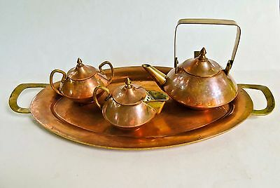 Vintage Copper Tea Service Set With Tray Hand Crafted Hallmarked Mexico