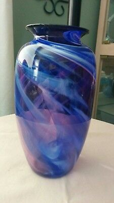 "Andres & Chapman Signed Art Glass, Purple and Cobalt Swirl Vase, 7"" tall, 1990's"
