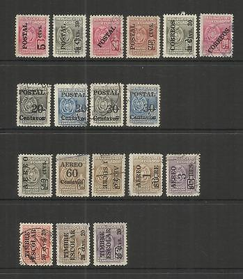 Ecuador ~ 1949-54 Fiscal Tax Stamps O/p Postage & Air Mail