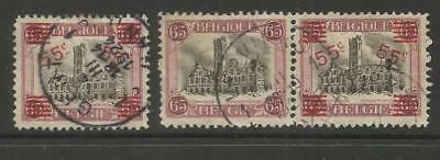 Belgium ~ 1921 Surcharge Hotel De Ville & Surcharge Omitted Pair