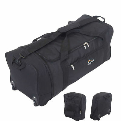 Xl Extra Large Folding 2 Wheeled Travel Sports Weekend Carry Holdall Luggage Bag