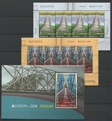 Europa CEPT 2018 Moldova, Bridges, Trains MNH Booklet