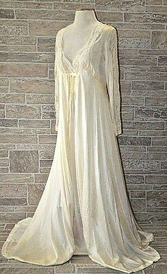Vtg Rosa Puleo-Szule Lily of France Pale Yellow Lace Robe Lingerie Gown - Small