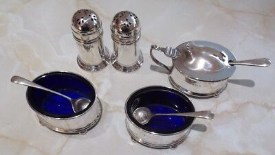 Antique Silver Condiment Set With Blue Glass Liners. Made By Gorham, Birmingham.