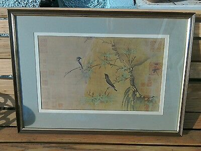 Vintage Oriental Print Finches And Bamboo Hui Tsung