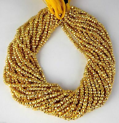 """1 Strand Gold Pyrite Gemstone Faceted Rondelle Beads 3.5-4mm Bead 13"""" Long"""