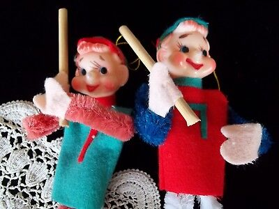"""2 vintage elf pixie gnome pipe cleaner baseball Play Ball Figures 8"""" Japan 50's"""