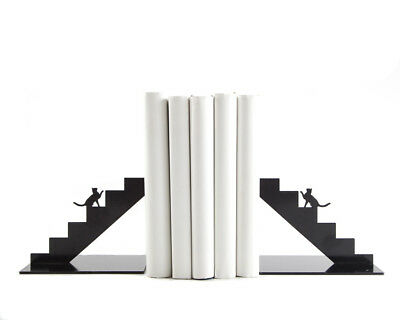 Atelier Article - Gift Steel bookends - Cats on the stairs (Black) - U0314