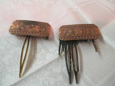 Vintage pair Copper Hair Clips Combs