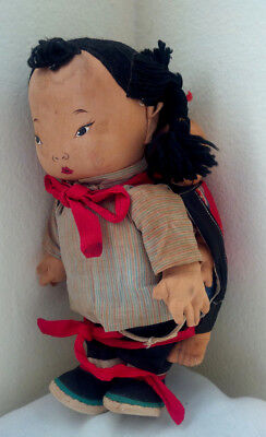 "Vintage Chinese Cloth Doll Sister Carries Kid Brother 10"" Betty Clemo Collection"