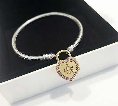Genuine Pandora Bracelet with Lock Your Promise Clasp 14K Gold Plated 596586FPC