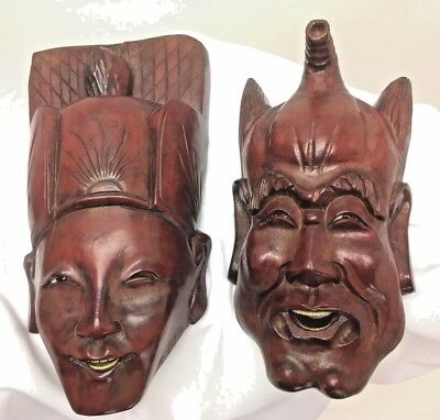 Vintage Solid Rosewood Mask Asian Japanese Carved Wood Wall Hanging ART