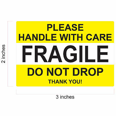 "FRAGILE STICKER 1"" x 3"" & 2 x 3 FRAGILE HANDLE WITH CARE DO NOT BEND DO NOT DROP"