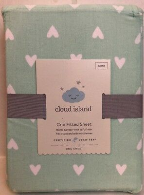 Fitted Crib Sheet Hearts - Cloud Island™ Mint - New in Package 100% Cotton