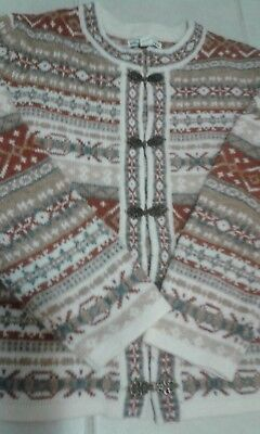 Telluride Clothing Co Nordic Wool Cardigan, Pewter Clasps. Nwot Large