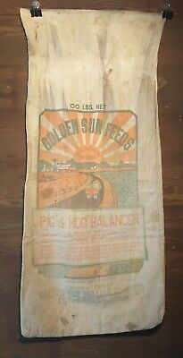 Vintage GOLDEN SUN FEEDS cloth Feed Sack Pig & Hog Balancer Bag