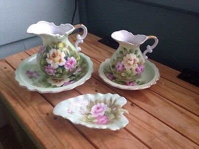 Lot Vintage Japan Norcrest Green Rose Pitcher Bowls L328 Lefton Leaf Dish 1860