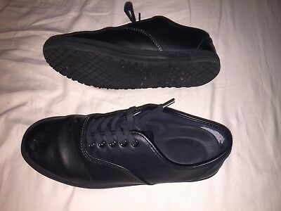 womens SAFE STEP black leather work/school lace up shoes .. size 8