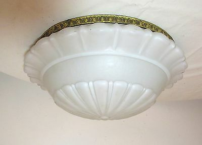 LARGE antique frosted glass ornate gilt bronze electric ceiling fixture shade