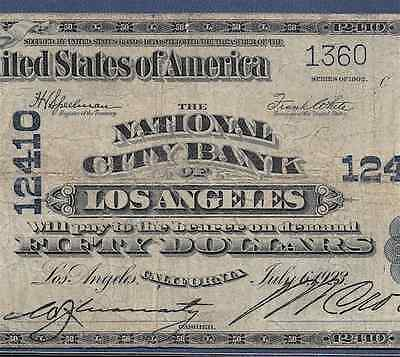 Ca  1902 $50  ♚♚ Los Angeles, California ♚♚   Pcgs Fine 12    Hard To Find!!!