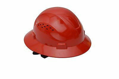 CJ Safety Full Brim Hard Hat with Fas-Trac Suspension - Vented Red