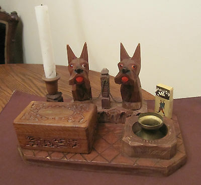 vintage hand made carved wooden dog smoking stand set ashtray snuff box match