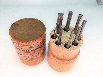 Starrett # S565WB Drive Pin Punches Set in Original Wood Case USA - PLEASE READ