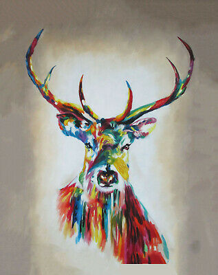not Banksy Framed Canvas Street painting art stag deer elk rainbow ready to hang
