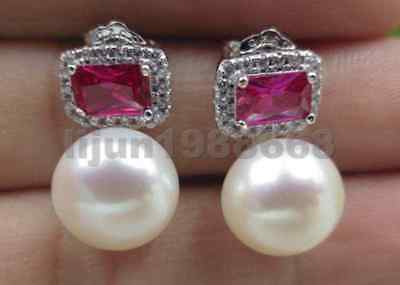 natural white 10mm round bread genuine freshwater pearl earrings studs
