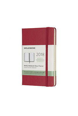 Moleskine - 2018 Hard Cover Diary - Weekly Notebook - Pocket - Berry Rose