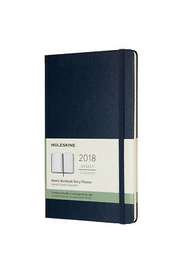 Moleskine - 2018 Hard Cover Diary - Weekly Notebook - Large - Sapphire Blue