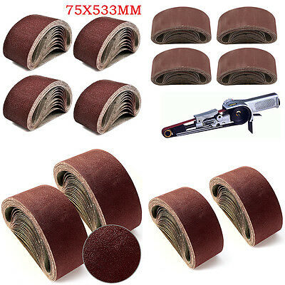 20x 75 X 533 mm Sanding Belts Mixed Grade 40 60 80 120 Grit Bosch Makita Sander
