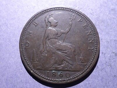1860 Great Britain One Penny Fine