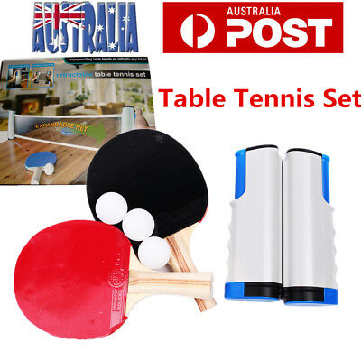 Portable Table Tennis Ping Pong Racket Kit W/ 2 Bat 3 Ball Retractable Net Rack
