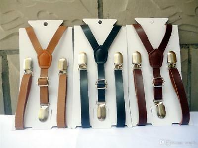 Baby/Toddler Boy's Faux Leather Adjustable Suspenders -Choose Black-Brown or Tan